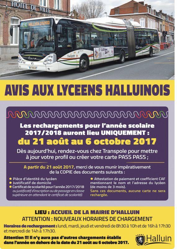 Rechargement Des Cartes Transpole Pour Les Lyceens Ville D Halluin 59 Nord